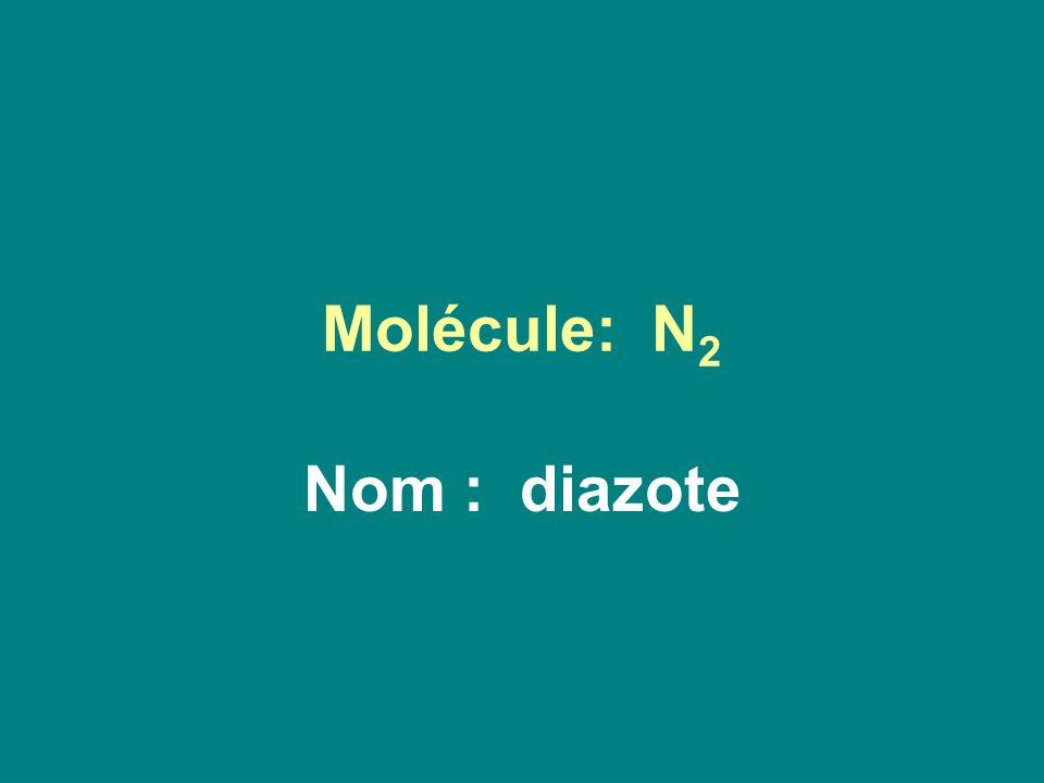 Molécule: N2 Nom : diazote