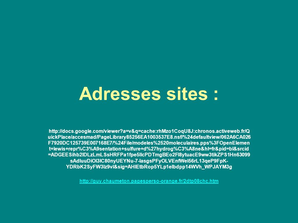 Adresses sites :
