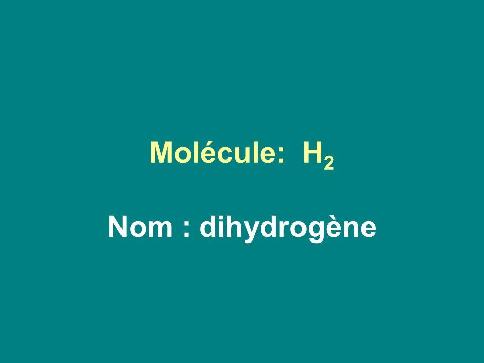 Molécule: H2 Nom : dihydrogène