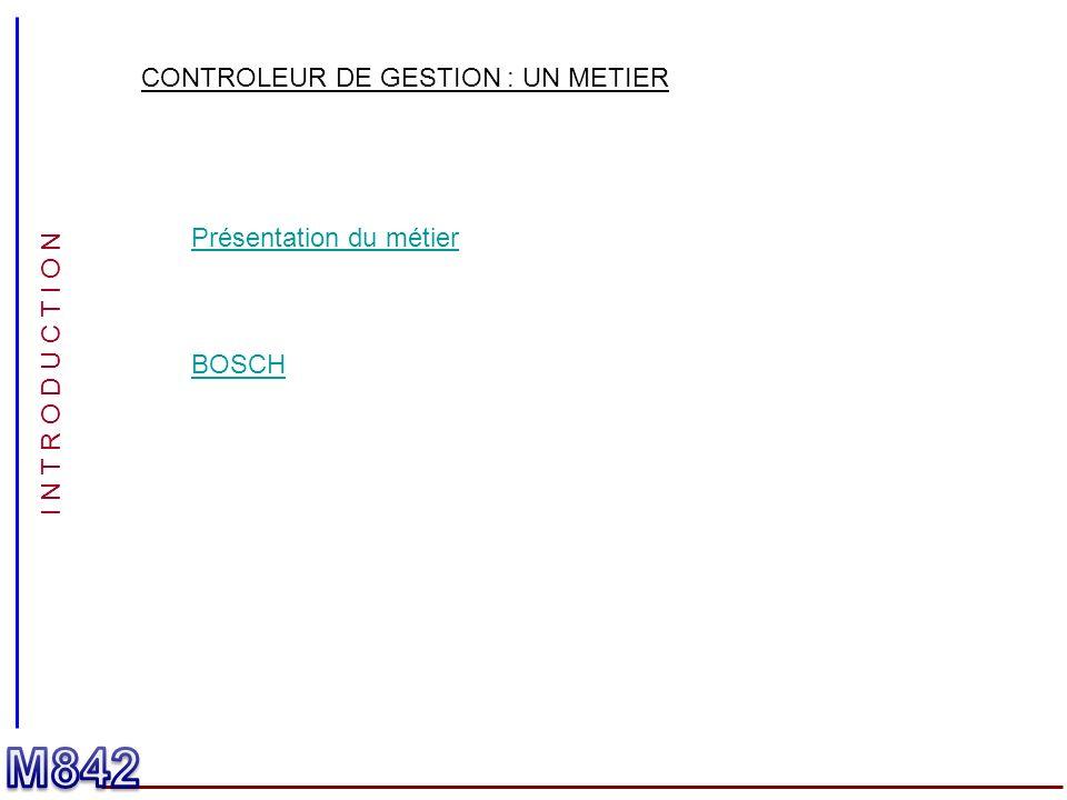 M842 CONTROLEUR DE GESTION : UN METIER Présentation du métier