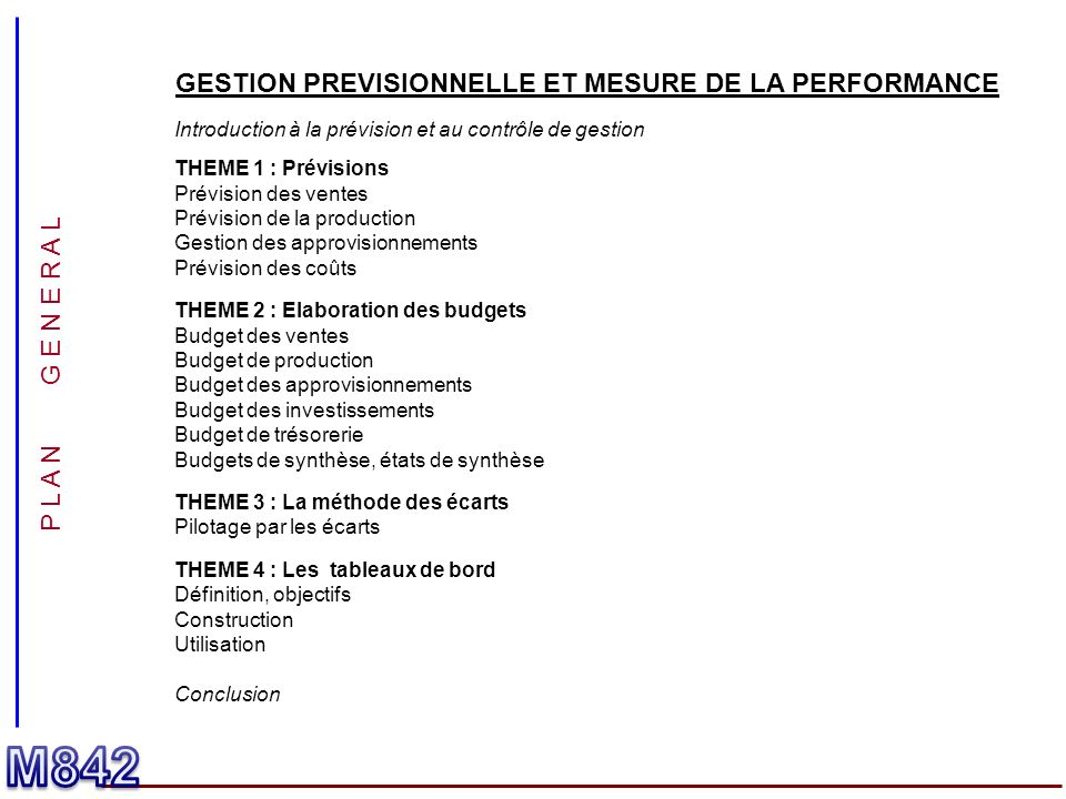 GESTION PREVISIONNELLE ET MESURE DE LA PERFORMANCE