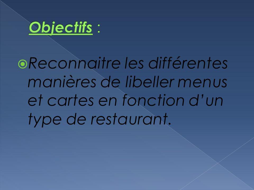 Objectifs : Reconnaitre les différentes manières de libeller menus et cartes en fonction d'un type de restaurant.