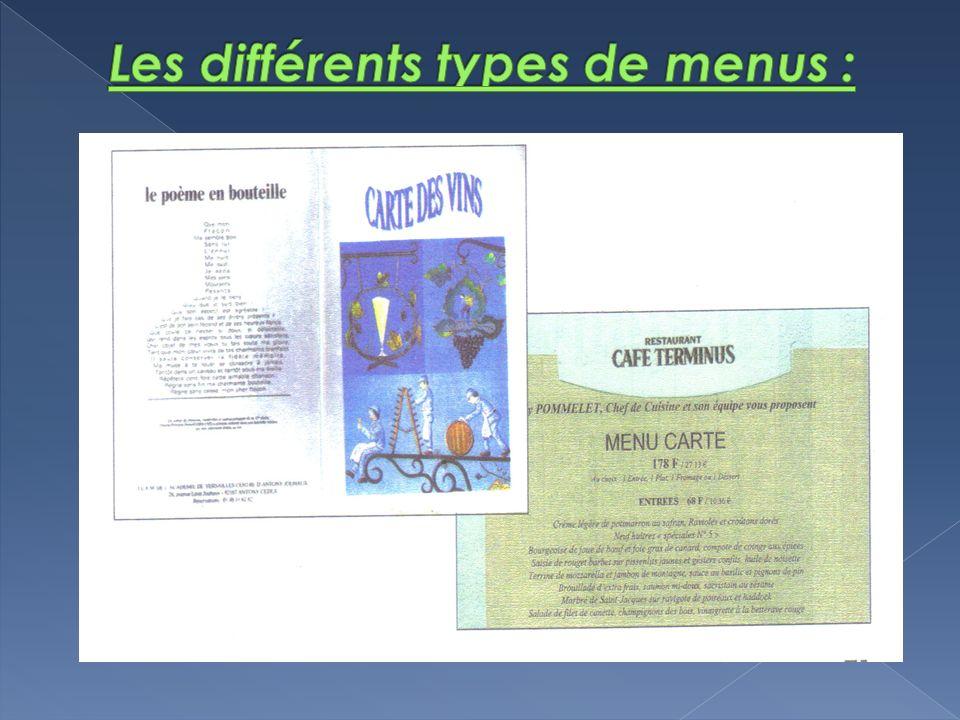 Les différents types de menus :