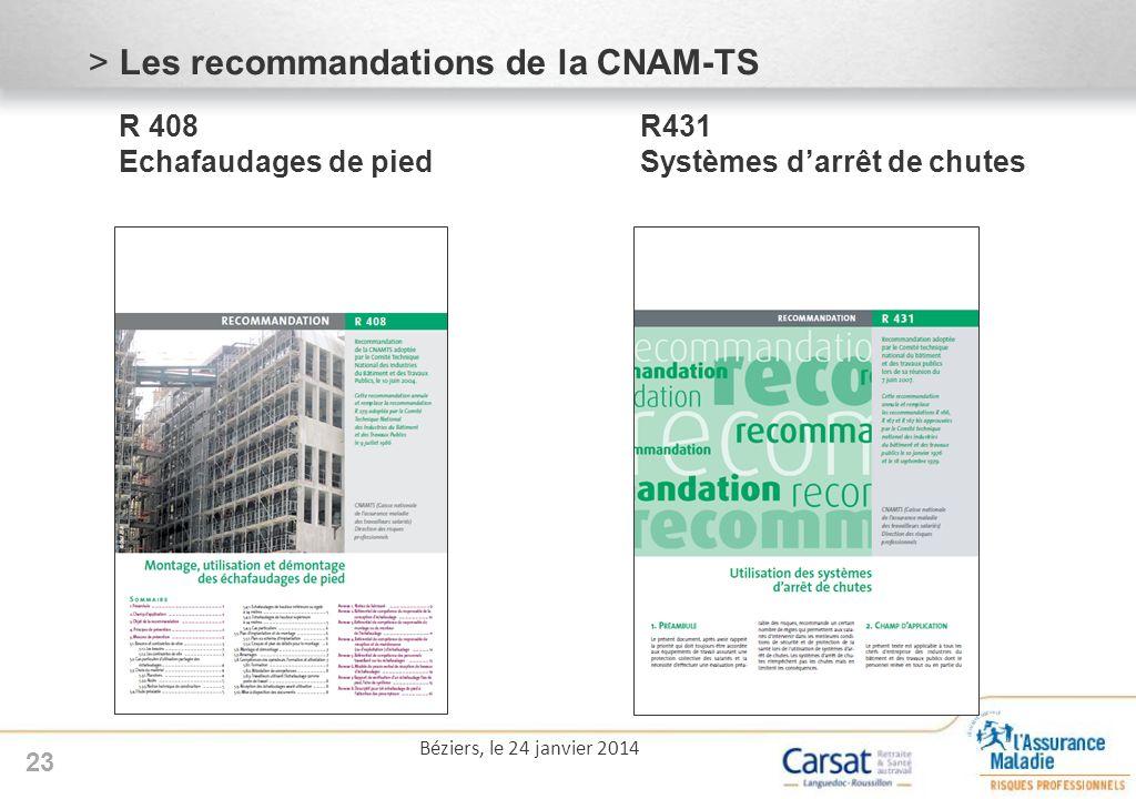 Les recommandations de la CNAM-TS R 408. R431 Echafaudages de pied