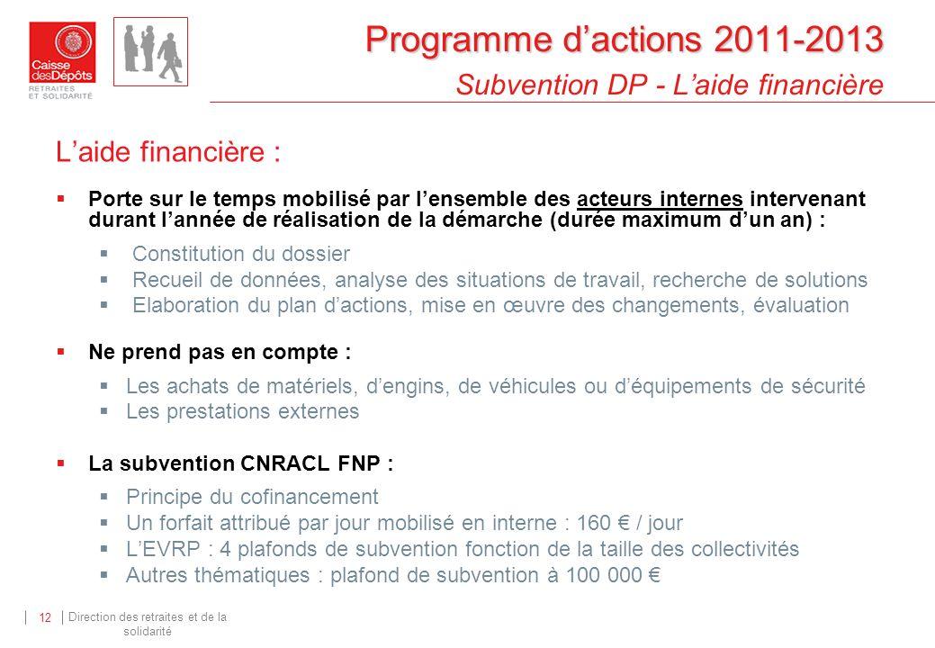 Programme d'actions 2011-2013 Subvention DP - L'aide financière