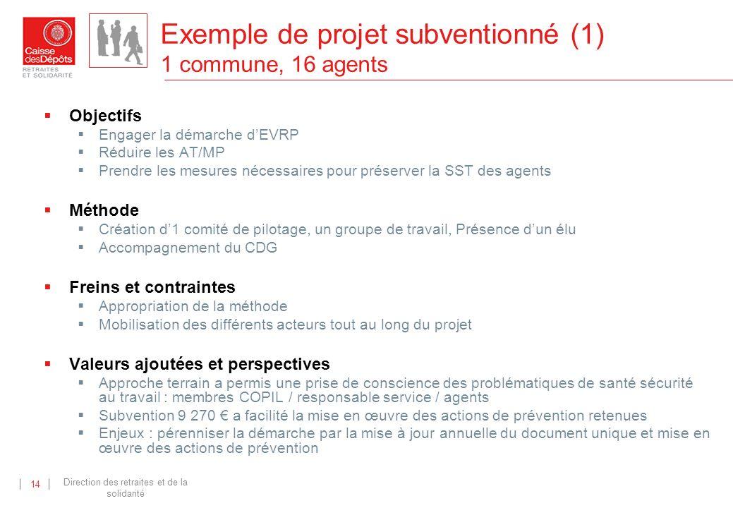 Exemple de projet subventionné (1) 1 commune, 16 agents