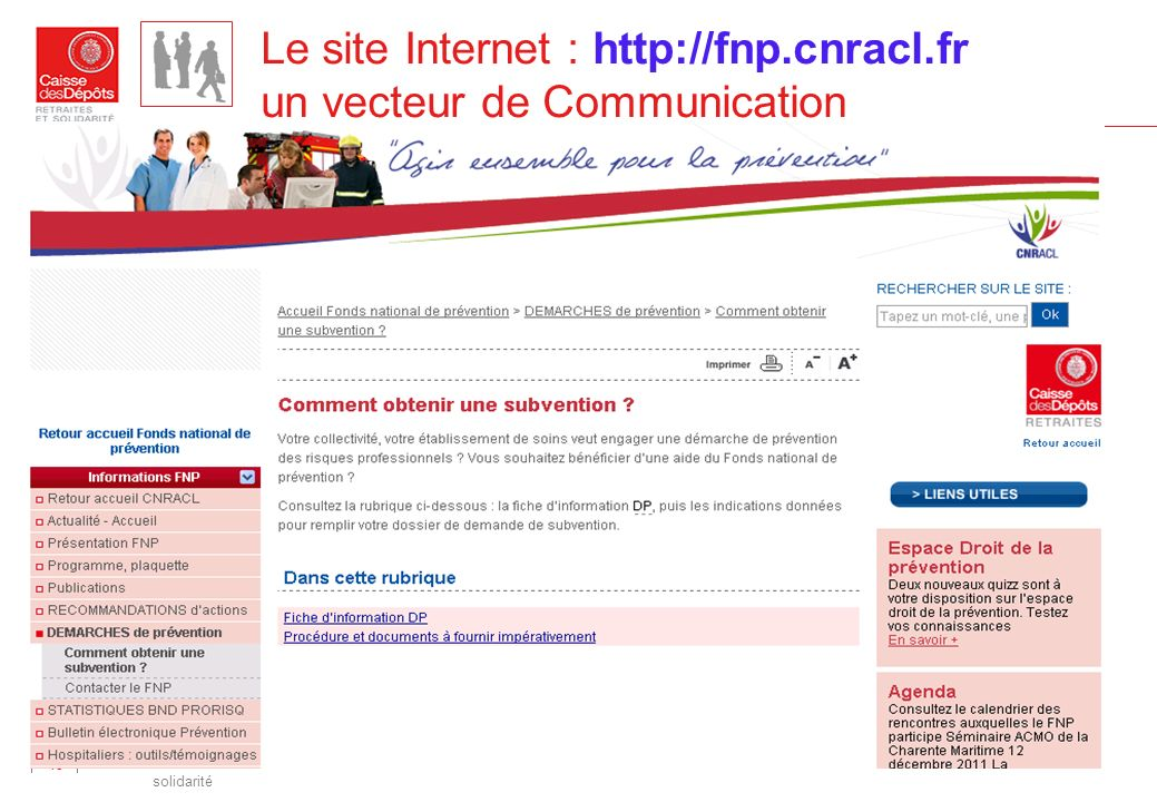 Le site Internet : http://fnp.cnracl.fr un vecteur de Communication