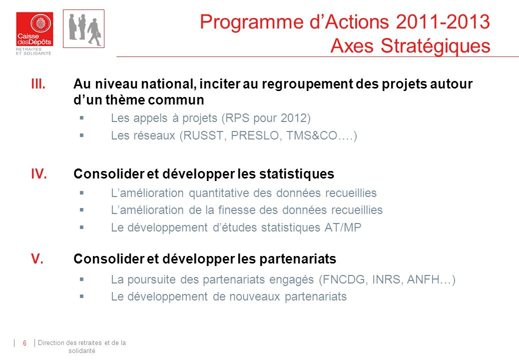 Programme d'Actions 2011-2013 Axes Stratégiques