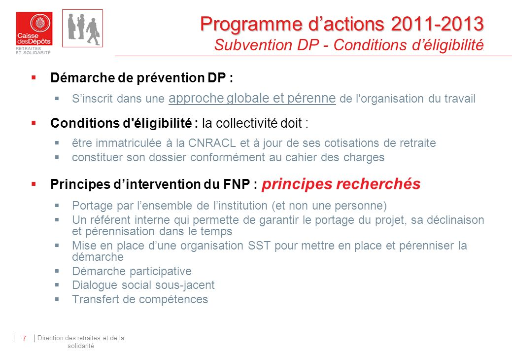Programme d'actions 2011-2013 Subvention DP - Conditions d'éligibilité