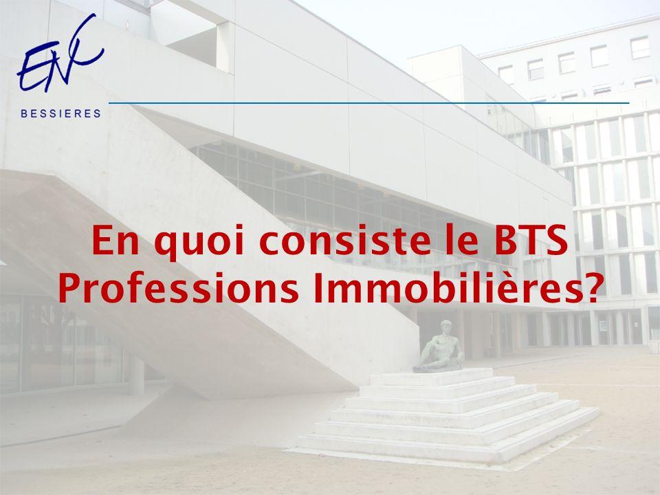 En quoi consiste le BTS Professions Immobilières