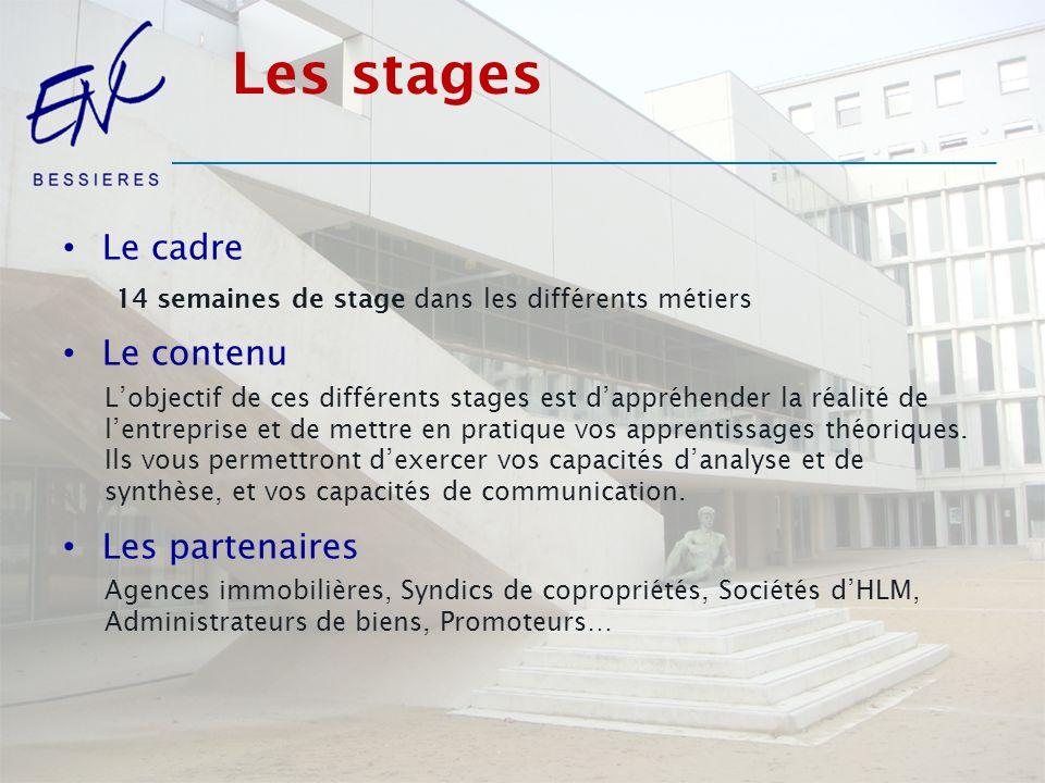 Les stages Le cadre Le contenu Les partenaires