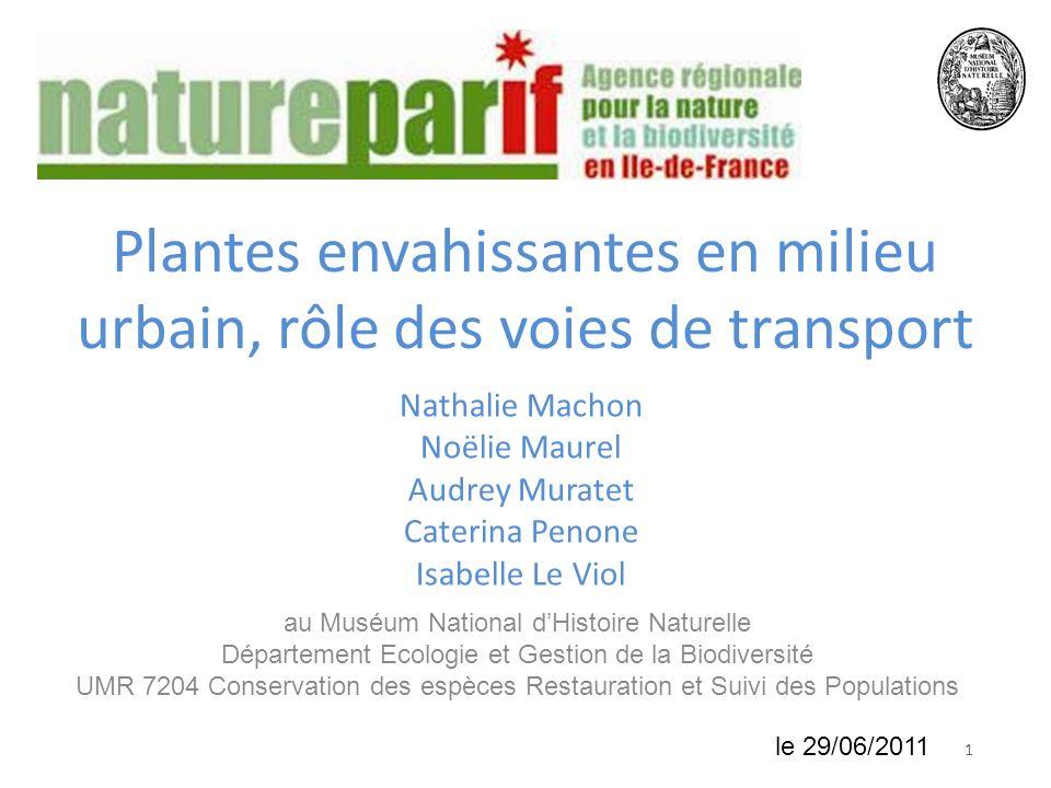 Plantes envahissantes en milieu urbain, rôle des voies de transport