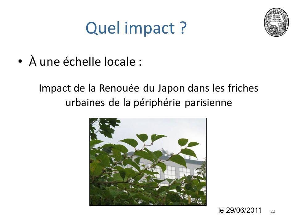 Quel impact À une échelle locale :