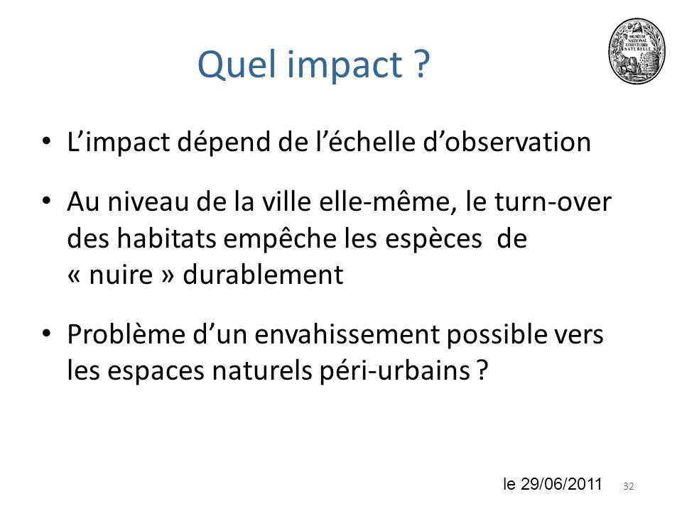 Quel impact L'impact dépend de l'échelle d'observation