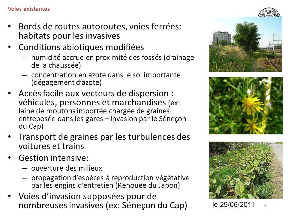 Bords de routes autoroutes, voies ferrées: habitats pour les invasives