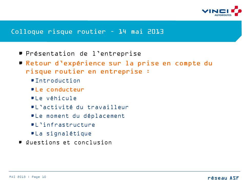 Colloque risque routier – 14 mai 2013