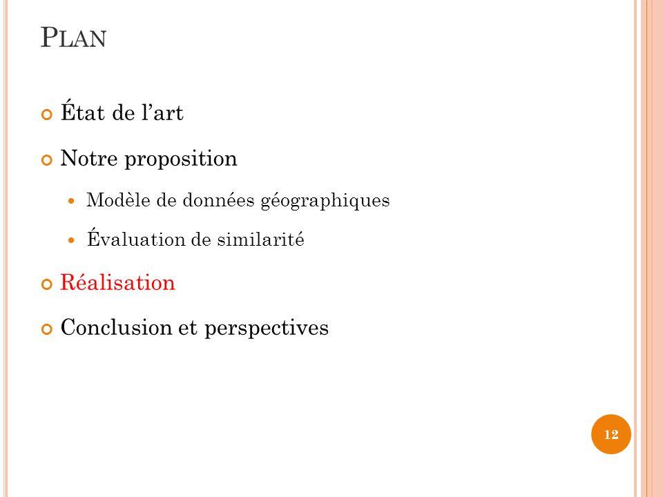 Plan État de l'art Notre proposition Réalisation