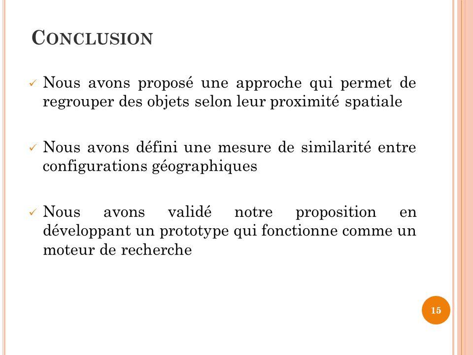 Conclusion Nous avons proposé une approche qui permet de regrouper des objets selon leur proximité spatiale.