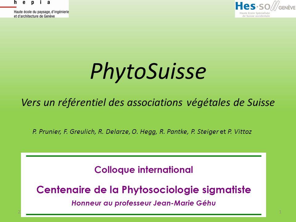 Vers un référentiel des associations végétales de Suisse