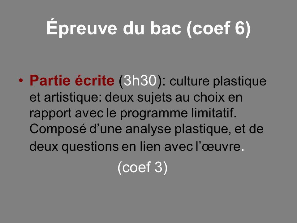Épreuve du bac (coef 6)