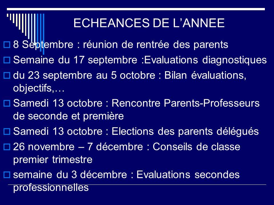 ECHEANCES DE L'ANNEE 8 Septembre : réunion de rentrée des parents