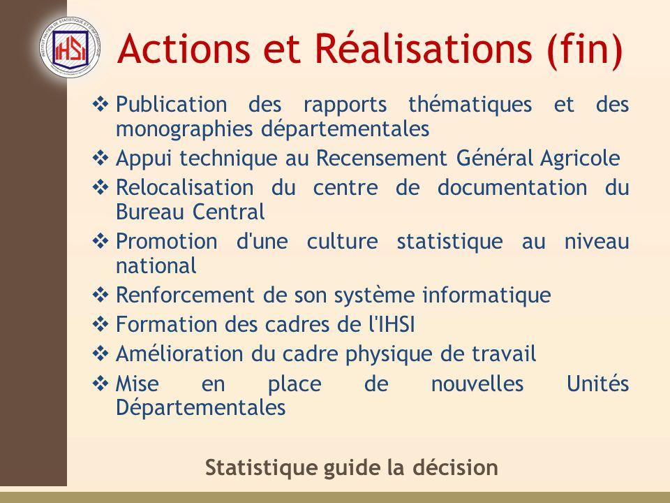 Actions et Réalisations (fin)
