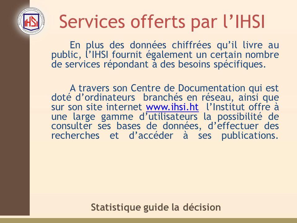 Services offerts par l'IHSI
