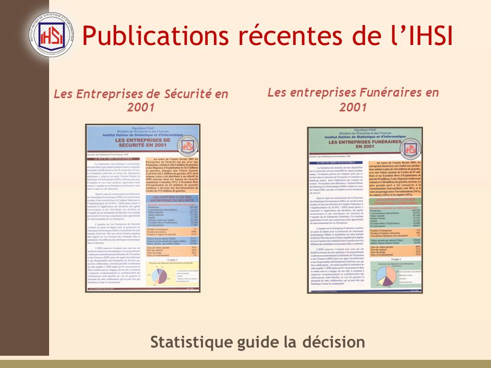 Publications récentes de l'IHSI