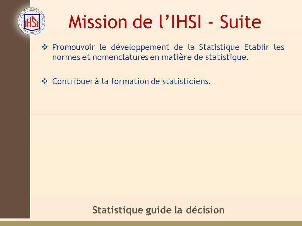 Mission de l'IHSI - Suite