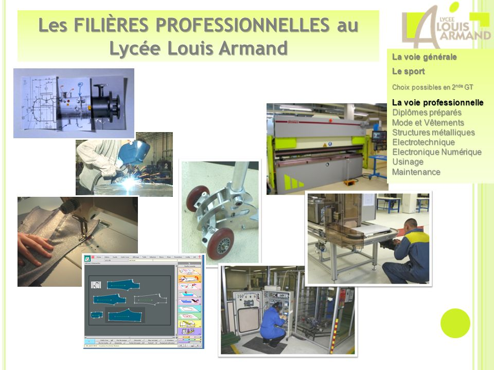 Les FILIÈRES PROFESSIONNELLES au Lycée Louis Armand