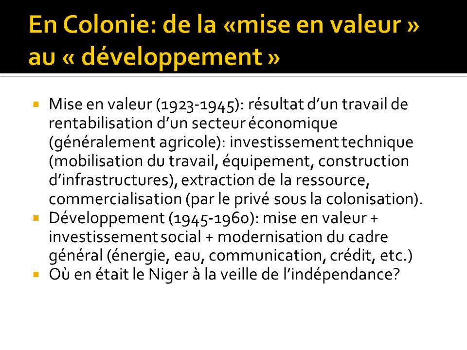 En Colonie: de la «mise en valeur » au « développement »
