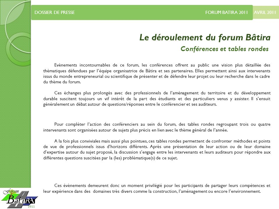 Le déroulement du forum Bâtira