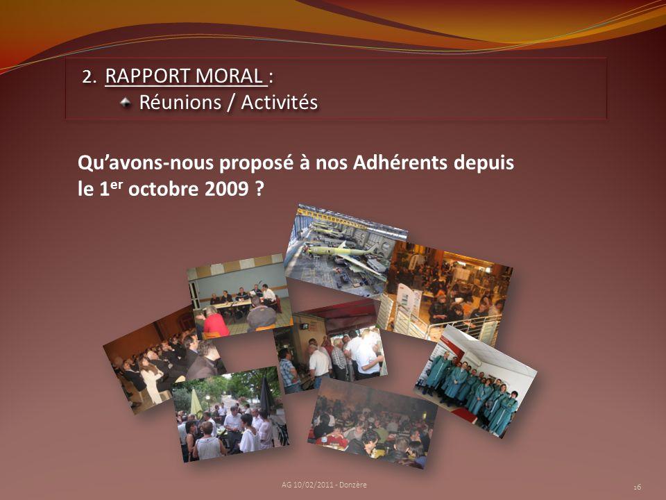Qu'avons-nous proposé à nos Adhérents depuis le 1er octobre 2009