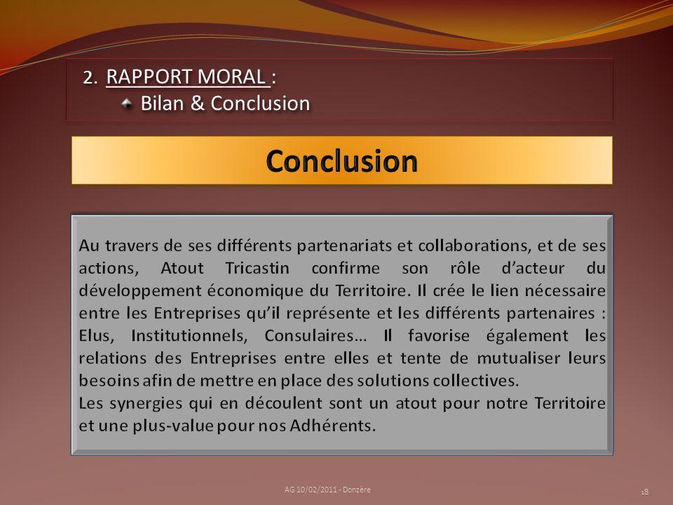 Conclusion RAPPORT MORAL : Bilan & Conclusion