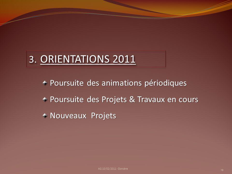 ORIENTATIONS 2011 Poursuite des animations périodiques