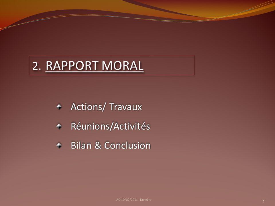 RAPPORT MORAL Actions/ Travaux Réunions/Activités Bilan & Conclusion