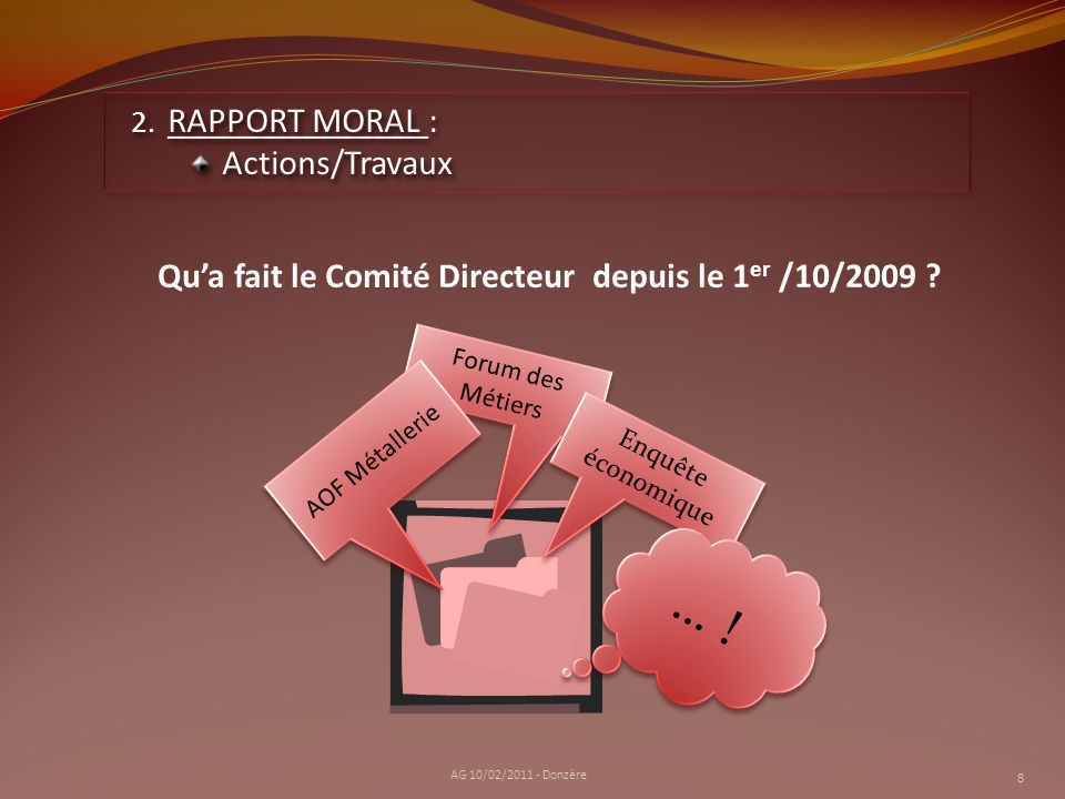 … ! RAPPORT MORAL : Actions/Travaux