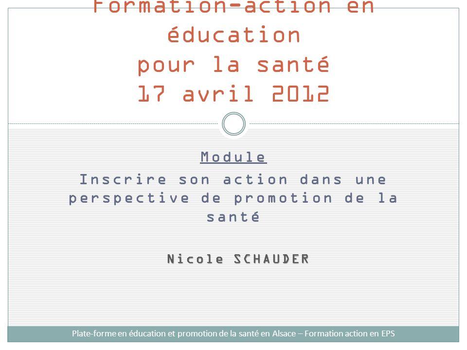 Formation-action en éducation pour la santé 17 avril 2012