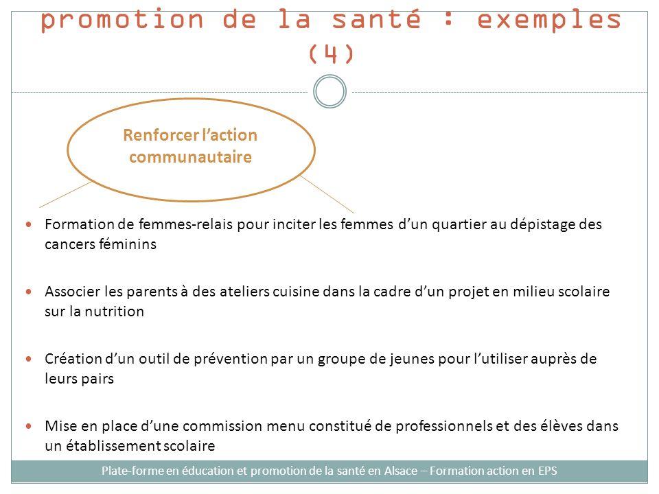 Stratégies d'intervention en promotion de la santé : exemples (4)
