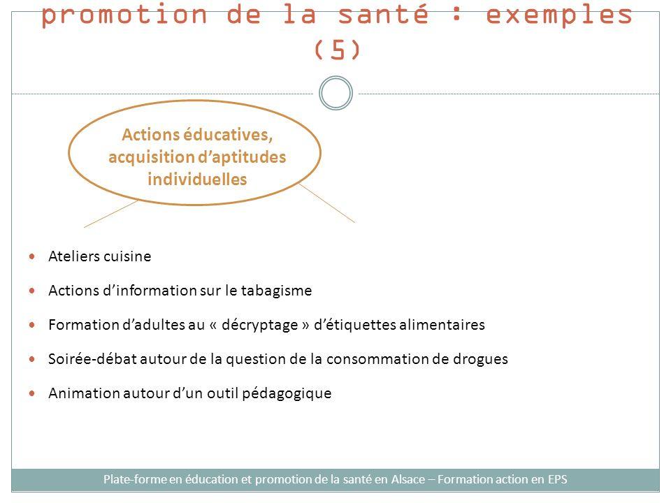 Stratégies d'intervention en promotion de la santé : exemples (5)