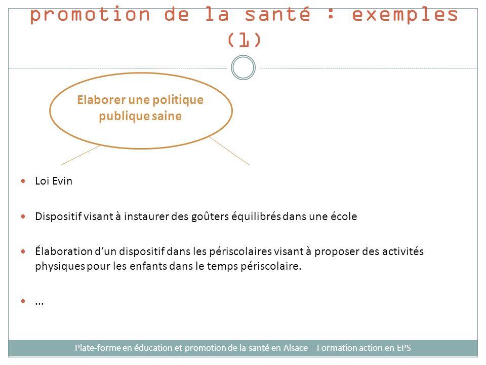 Stratégies d'intervention en promotion de la santé : exemples (1)