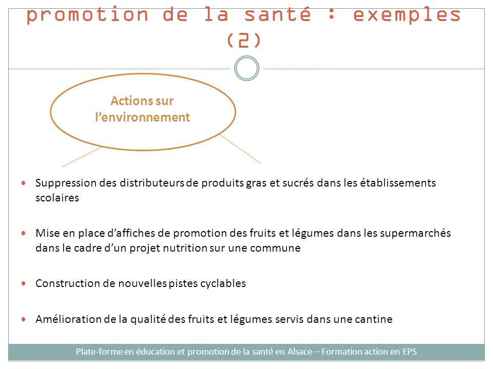 Stratégies d'intervention en promotion de la santé : exemples (2)