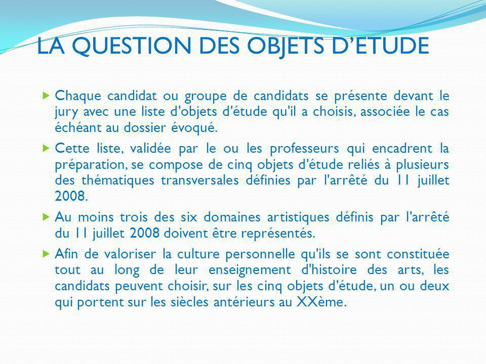 LA QUESTION DES OBJETS D'ETUDE