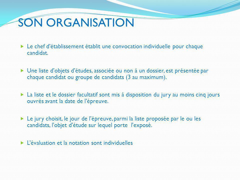 SON ORGANISATIONLe chef d'établissement établit une convocation individuelle pour chaque candidat.