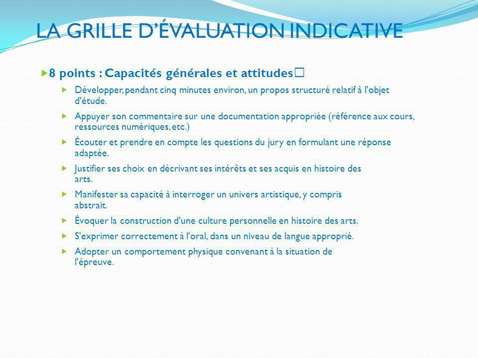 LA GRILLE D'ÉVALUATION INDICATIVE