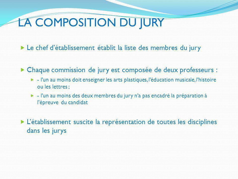 LA COMPOSITION DU JURYLe chef d'établissement établit la liste des membres du jury. Chaque commission de jury est composée de deux professeurs :