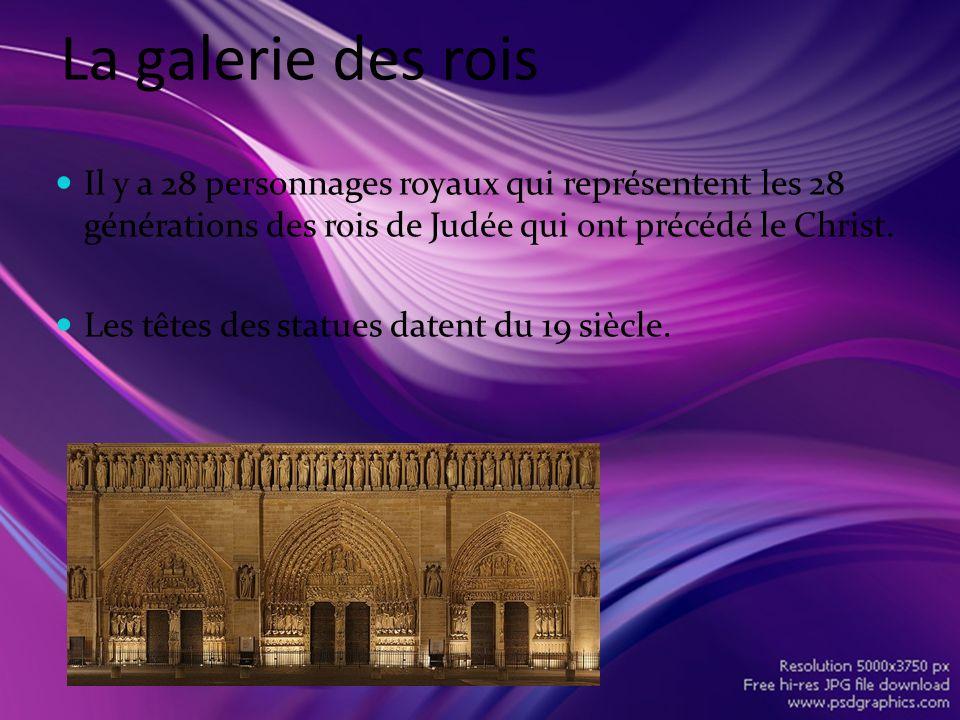 La galerie des rois Il y a 28 personnages royaux qui représentent les 28 générations des rois de Judée qui ont précédé le Christ.