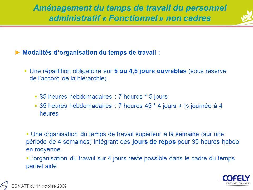 Aménagement du temps de travail du personnel administratif « Fonctionnel » non cadres