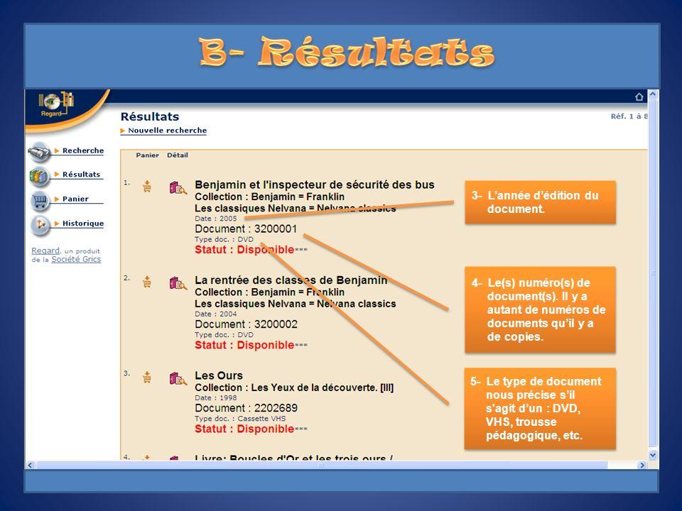 B- Résultats 3- L'année d'édition du document.