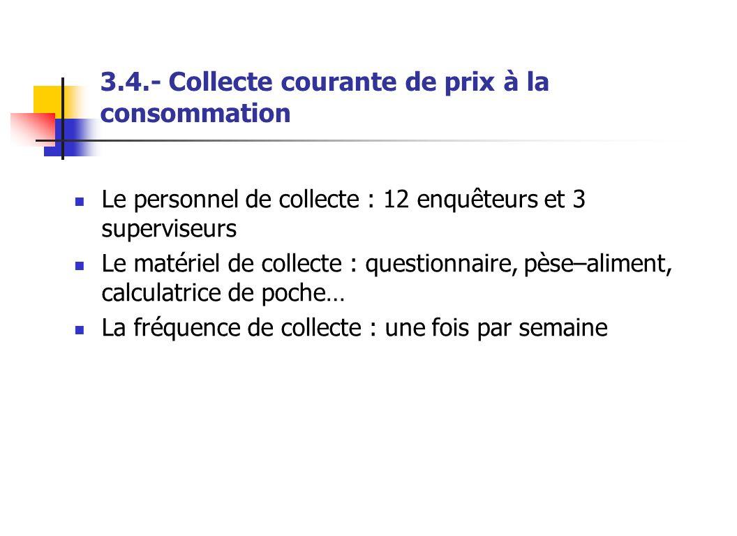3.4.- Collecte courante de prix à la consommation